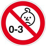 Prohibition sign - Not suitable for children under three years