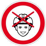 Prohibition sign - helmet prohibition
