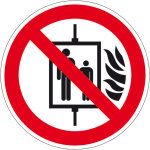 Prohibition sign - Do not use lift in case of fire