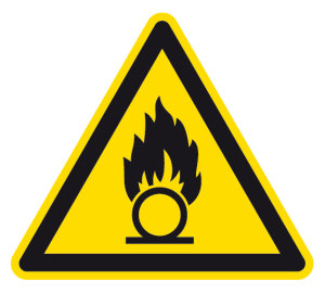 Warning sign - Warning of oxidizing substances - Foil self-adhesive - Thigh length 5 cm