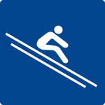 Swimming Pool Sign - Slinging while seated