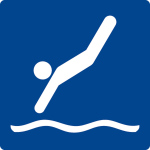 Swimming sign - jumping allowed