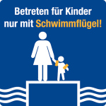 Swimming Pool Sign - Enter for children only with water wings!