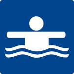 Swimming pool sign - non-swimmer border