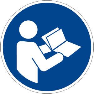 Mandatory sign - observe instructions - plastic - Ø 5 cm