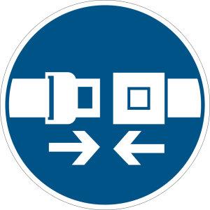 Mandatory sign - use seat belt - plastic - Ø 5 cm