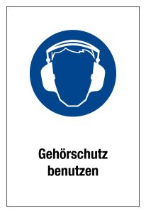 Mandatory sign - Use hearing protection - Plastic - 20 x 30 cm