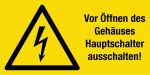 Warning sign - Switch off main switch!