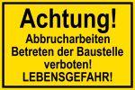 Warning sign danger to life V