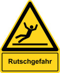 Warning sign with text field - danger of slipping