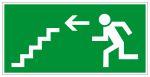 Escape route sign - Escape route stairs down left
