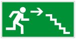 Escape route sign - Escape route stairs down to the right