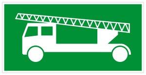 Escape route sign - Escape route exclusively via fire department ladder - Foil self-adhesive - 10 x 20 cm