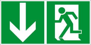 Escape route sign - emergency exit - foil self-adhesive - 10 x 20 cm