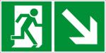 Escape route sign - Escape route right downhill