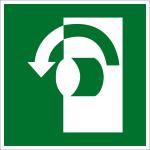 Escape route sign - Open counterclockwise