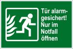 Escape route sign - door alarmged
