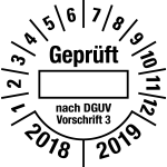 Multi-year test sticker 2018 - 2 ... cording to DGUV | favorite color