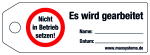 Locking label - Do not put into  ... ! - Plastic 0.5 mm - 160 x 55 mm