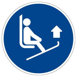 Mandatory sign - lift ski tips - M036 - foil self-adhesive - Ø 5 cm