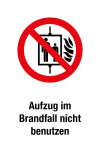 Prohibition sign - Do not use elevator in case of fire