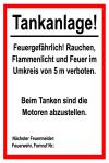Information sign - Tankanlage!