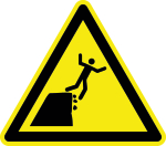 Warning sign - warning of unstable edge