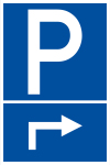 Parking sign - parking area on the right