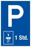 Parking sign - parking duration 1 hour