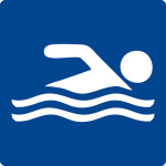 Swimming pool sign - swimmer