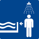 Swimming pool sign - First shower
