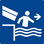 Swimming pool sign - Immediately exit chute exit