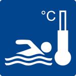 Swimming pool sign - swimming pool heated