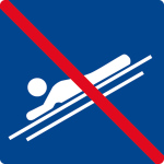 Swimming pool sign - Do not slip your head forward