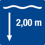 Swimming pool sign - water depth 2,00 m