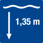 Swimming pool sign - water depth 1,35 m
