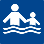 Swimming pool sign - Only accompanied by adults