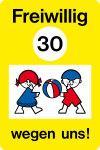 Playground sign - voluntary 30 because of us!