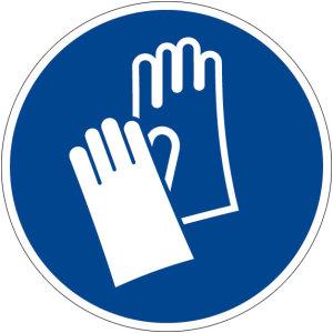 Mandatory sign - Use hand protection - Plastic - Ø 5 cm