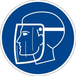 Mandatory sign - use face protection - plastic - Ø 5 cm