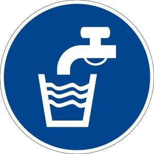 Mandatory sign - drinking water - plastic - Ø 5 cm
