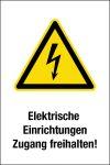 Warnschild - Elektrische Einrichtungen freihalten