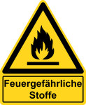 Warning signs with text field - Fire hazardous substances