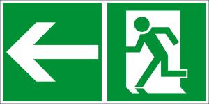 Escape route sign - Escape route left - Foil self-adhesive - 10 x 20 cm
