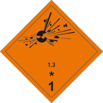 Dangerous goods markings - Explosive substances 1.3