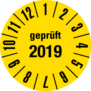 Annual test sticker 2019 | JP30 | Desired color - foil self-adhesive, yellow & black - Ø 15 mm - 50 pieces