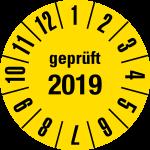 Jahresprüfplakette 2019 | JP30  ... & schwarz - Ø 15 mm - 50 Stück