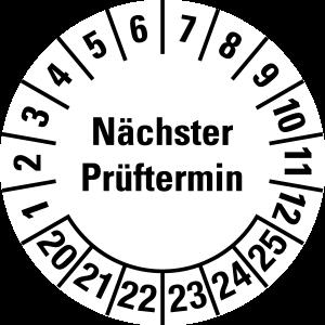 Multi-year test sticker 2020 - 2025 | Next test date - foil self-adhesive, white & black - Ø 20 mm - 50 pieces